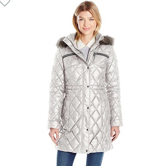 6e17b13a2 GUESS Silver Long Puffer Coat $168